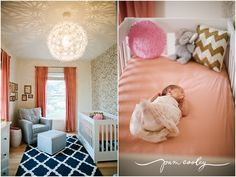 navy + peach...love this nursery if we have a girl