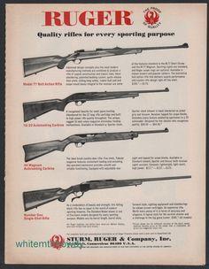1971 RUGER Model 77 & Number One Rifle 10/22 & 44 Magnum Carbine AD #Ruger