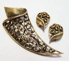 Vintage JJ Modernist Jewelry Set Pin Clip On by GretelsTreasures