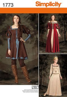 Simplicity 1773 misses' medieval dress in two lengths has square neckline and flared skirt.  underdress a, c has back zipper, long sleeve and ruched or trimmed neckline.  overdress b, d has front lacing and short puffed sleeves.
