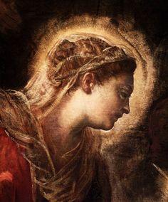 TINTORETTO - Adorazione dei Magi, dettaglio Vergine - 1582 - Scuola Grande di San Rocco, Venezia