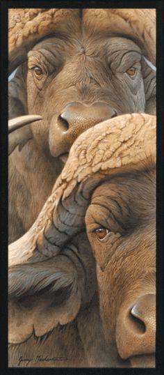 CAPE BUFFALO BY JERRY GADAMUS Wildlife Paintings, Wildlife Art, Animal Paintings, African Elephant, African Animals, Animals And Pets, Cute Animals, African Buffalo, Interesting Animals