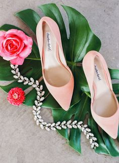 peachy pink wedding shoes - photo by Megan W Photography http://ruffledblog.com/brilliant-wedding-design-inspired-by-paper-goods