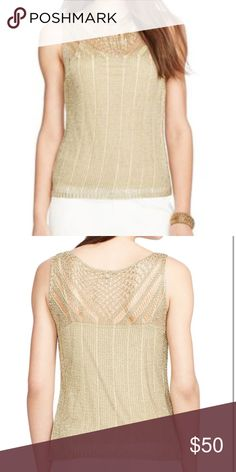 NWT Gold knit top come with attached camisole NWT Gold knit top come with attached camisole never worn in really good condition other than some separating on back not very noticeable when wearing Ralph Lauren Tops Tank Tops