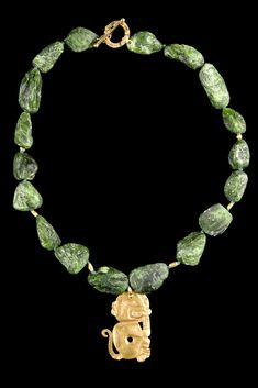Crome Diopsite Necklace with Chavin Gold Monkey Plaque. North Coast, Peru. 500 BC