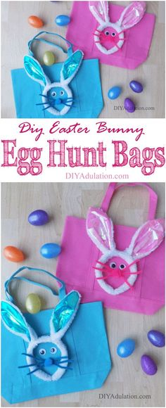 Ditch the plastic grocery bags for these DIY Easter bunny egg hunt bags. They are a fun, easy, and frugal alternative. The kiddos love them and they are color-coded for each kid so there is no confusion on what bag belongs to whom. #ad