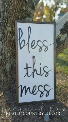 Sign, rustic, farmhouse, bless this mess, white and black, brown border, diy sign, diy decor, etsy, home decor, love, kitchen, dining room, living room, hall way, wall art (aff link)