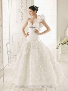 BallGown One Shoulder Organza Sweep Train White Flowers Wedding Dress
