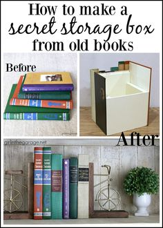 diy box DIY hidden secret storage book box from thrifted book covers - Easy DIY tutorial by Girl in the Garage Hidden Book, The Secret Book, Secret Box, Craft Storage Box, Book Storage, Decorative Storage Boxes, Secret Storage, Hidden Storage, Diy Simple