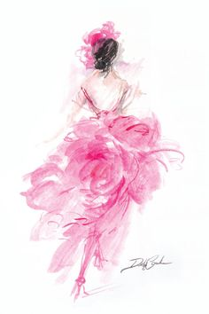 Parisian Pink Original Print by Debi Coules - Debi Coules Romantic Art Pink Canvas Art, Canvas Art Prints, Canvas Frame, Mode Poster, Illustration Art, Illustrations, New Wall, Watercolor Paintings, Watercolors