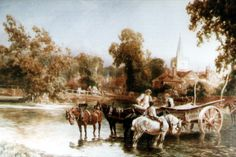 Carshalton Upper Pond, with horses and carts in the ford, captured in watercolour by J. Henry Drage (active There is still a chain link across the ford outside Honeywood, our local museum, but no longer any horses and carts. Sutton Surrey, London Drawing, Local Museums, Croydon, Local History, Local Artists, The Locals, Pond, Watercolour