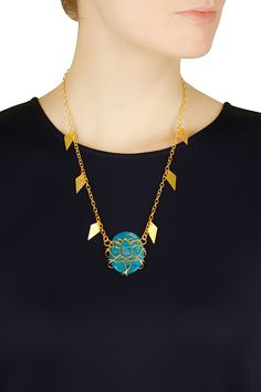 Gold plated emerald moonstone chain necklace available only at Pernia's Pop Up Shop.