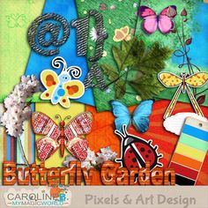 """#PixelsAndArtDesign - A Butterfly Garden This absolutely """"springy"""" kit is perfect for seasonal pages or little children LO;  Including :  - 8 stunning papers  - 1 alpha (43 pieces)  - 11 elements (butterfly stickers, ladybug, journaling, branches, leaves and flowers...)  - 1 paintchip.       Buy Now http://www.pixelsandartdesign.com/store/index.php?main_page=product_info&products_id=1220"""