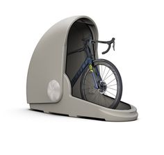 Give your prized bicycle the safe haven it deserves with the Alpen Bike Capsule, designed to keep your ride enclosed and secure while stored outdoors. The unique storage pod is a secure, waterproof custom home for your bike, keeping it away from hars Bicycle Garage, Bicycle Shop, Bike Shed, Bicycle Tools, Bicycle Wheel, Bicycle Art, Motorcycle Garage, Mini Garage, Outdoor Bike Storage