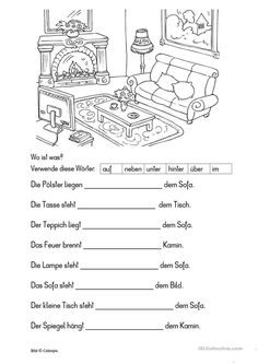Wo ist was? Grammar Worksheets, Kindergarten Worksheets, Worksheets For Kids, Dative Case, Apps For Teachers, German Grammar, German Language Learning, Hobbies For Kids, Learn German