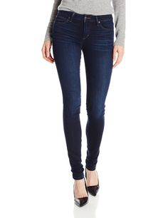 Joe's Jeans Women's Flawless Honey Curvy Skinny Jean in Lexi, Lexi, 26. Mid-rise skinny jean in dark wash featuring mild whiskering at front and contoured waist with more room through hip and thigh. Clean back pockets. Contrast stitching.