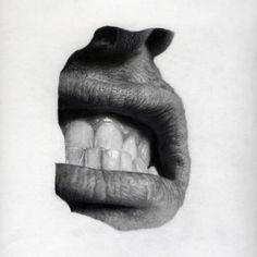 Mouth with gritted Teeth. Drawing by Jonny Shaw