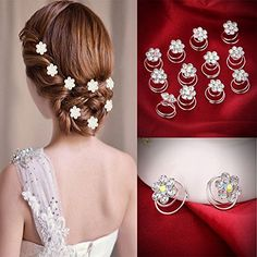 Hair Accessories | Coolrunner 12Pc Hair Decor Crystal Rhinestone Flower Hair Clips Hairpins Hairgrips Hairclip Barrette Clips For Women Girls *** Continue to the product at the image link.-It is an affiliate link to Amazon. #HairAccessories