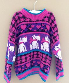 Vintage 1980s Girls Puppy Sweater Size Large (6x)