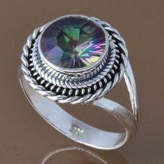 925 STERLING SILVER RAINBOW MYSTIC RING 5.0g DJR8297 SZ-8.75 #Handmade #Ring