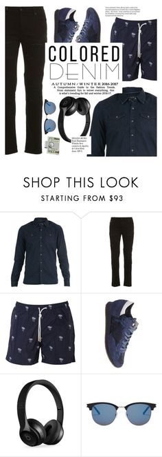 """""""Spring Trend: Colored Denim"""" by italist ❤ liked on Polyvore featuring Scotch & Soda, Marcelo Burlon, Paolo Pecora, Philippe Model, Beats by Dr. Dre, Whiteley, Yves Saint Laurent, men's fashion and menswear"""