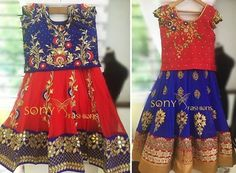 Grand Red and Blue Lehenga - Indian Dresses