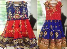 Grand Red and Blue Lehenga - Indian Dresses