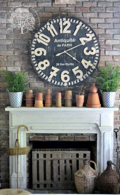 Cool Shabby Chic Decor Tip Georgeous notes to organize a pleasant diy shabby chic decor faux fireplace Fun Shabby chic decor image posted on this creative day 20190329 Decor, Large Wall Clock, Clock, Large Wall Clock Decor, Spring Decor, Decor Inspiration, Mantle Decor, Mantel Decorations, Spring Projects