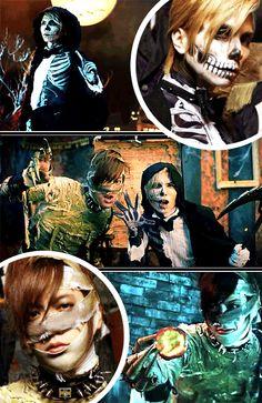 """ get to know halloween junky orchestra: yasu/acid black cherry & daigo "" Yasu, Record Producer, Hyde, Dramas, Cherry, Asian, Cook, Halloween, Music"