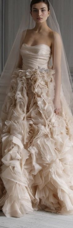 So in love with the ultra gorgeous wedding dressses from Monique Lhuillier Spring 2012 bridal collection. Above, Waltz blush silk gauze strapless Monique Lhuillier, Beautiful Gowns, Beautiful Bride, Bridal Dresses, Wedding Gowns, Dresser, Glamour, Trends, Spring Dresses