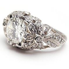Image detail for -Vintage Antique Style Diamond Engagement Ring Solid Platinum Filigree ...