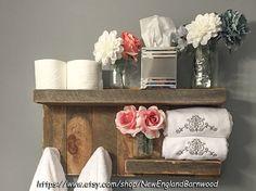 PLATAFORMA de baño con ganchos, decoración rústico cuarto de baño, toallero rústico, estante de baño, decoración de cocina rústica, rústico Home Decor, rústico