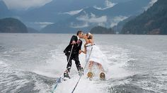 Couple's Wet and Wild Wedding on Water Skis