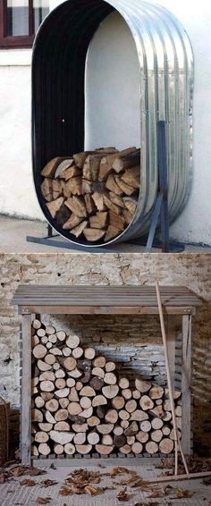 15 Fab Firewood Rack & The Best Storage Ideas! - 15 firewood storage and creative firewood rack ideas for the inside and the outside. A lot of great building tutorials, and DIY-friendly inspirations! – A Piece Of Rainbow Indoor Firewood Rack, Firewood Shed, Wood Storage Rack, Fire Wood Storage Ideas, Diy Storage, Decorative Storage, Storage Design, Wood Ideas, Backyard Sheds