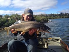 Fly fishing lake trout in Manitoba Canada