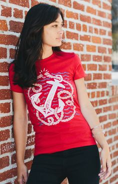 How cute is this anchor tee?! We love the pop of red for Summer! Grab yours and support Project AWARE with each purchase to help clean our oceans. #Sevenly