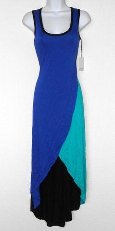 Calvin Klein Dress Size 12 Blue Teal Black Asymmetrical Hi-Lo Sleeveless NWT #CalvinKlein #AsymmetricalHem #Casual
