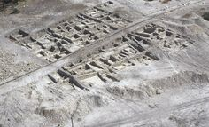 Ein Gedi, aerial view of excavations on shore of the Dead Sea, Israel