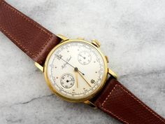 Vintage Mathey Tissot Wrist Watch in by MSJewelers Watch Faces, Vintage Watches, 1960s, Watches For Men, Brown Leather, Quartz, Yellow, Gold, Accessories