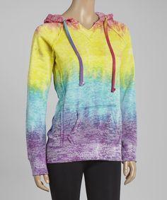 TROO Rainbow Burnout Tie-Dye Hoodie   zulily