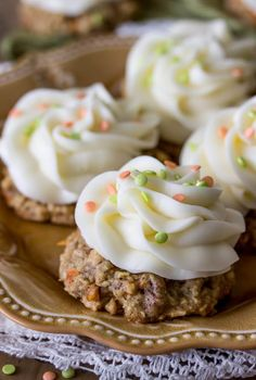 These carrot cake cookies are topped with cream cheese frosting -- sweet little treats that are much simpler than making a whole cake!