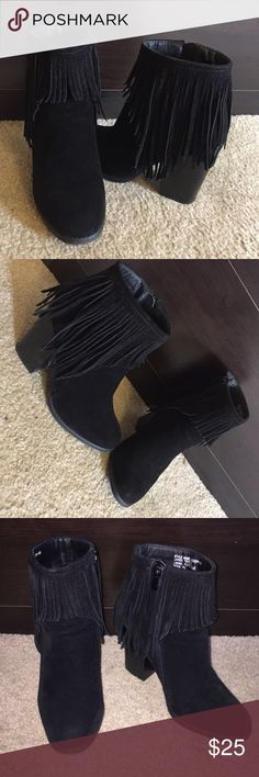 Black Fringe Ankle Booties All black ankle booties. Lightly used. Good condition. Very comfortable looks great with just about everything! Shoes Ankle Boots & Booties