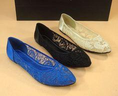 Lace Ballet Flat Shoes Royal Blue Lace Shoes Beige by laceNbling, $43.50