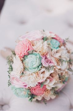 Romantic Wedding Bouquet Pink and Mint Collection by CuriousFloral