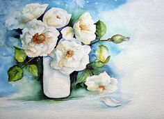 I am not really sure why I decided to have another go at this subject. Maybe it is simply a case of needing to paint and pulling out a pictu. Watercolor Artwork, Watercolor Flowers, Watercolor Ideas, Artist Workshop, Vases, Watercolour Tutorials, Funny Art, White Roses, Painting Inspiration