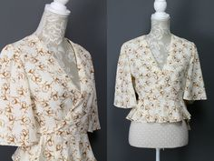 Vintage 1970s St Michael Rose Print Wrap Top | Brown Cream Floral Print Frilly Flared Bolero | Boho Hippie Festival Top | Womens Tops. S by Venelle on Etsy