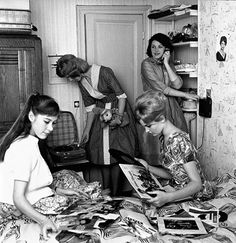 Having a record party, 1960s.