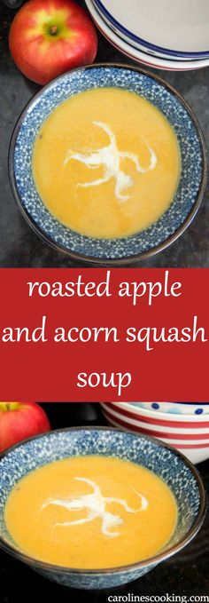 Roasted apple and acorn squash soup is so easy to make, smooth and comforting. It's a perfect bowl of fall goodness. Vegan too.