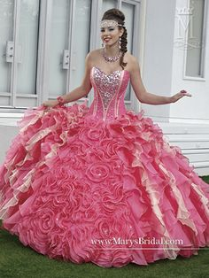 Discover the best and unique wedding Dresses from Mary's bridal collection. Choose your dream bridal wedding dresses from the wide variety of styles, fabrics, necklines, silhouettes and many more. Pretty Quinceanera Dresses, Pink Prom Dresses, Dressy Dresses, Ball Dresses, 15 Dresses, Cute Dresses, Ball Gowns, Stunning Dresses, Beautiful Gowns