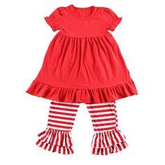 fc5bd38b99bdf Wennikids Baby Girls Cotton Short Sleeve Dress and Ruffle Striped Pants  Clothing Sets Large Red  gt